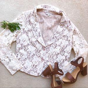 • CAbi Crop Lace Blazer •